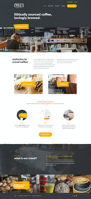 Shot of web design for a coffee shop