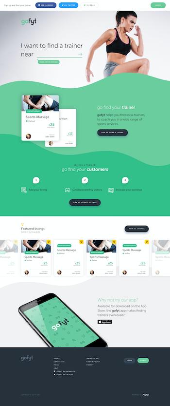 Shot of GoFyt home page web design